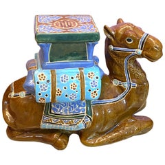 Patio Decoration Ceramic Hollywood Regency Camel Garden Stool or Side Table
