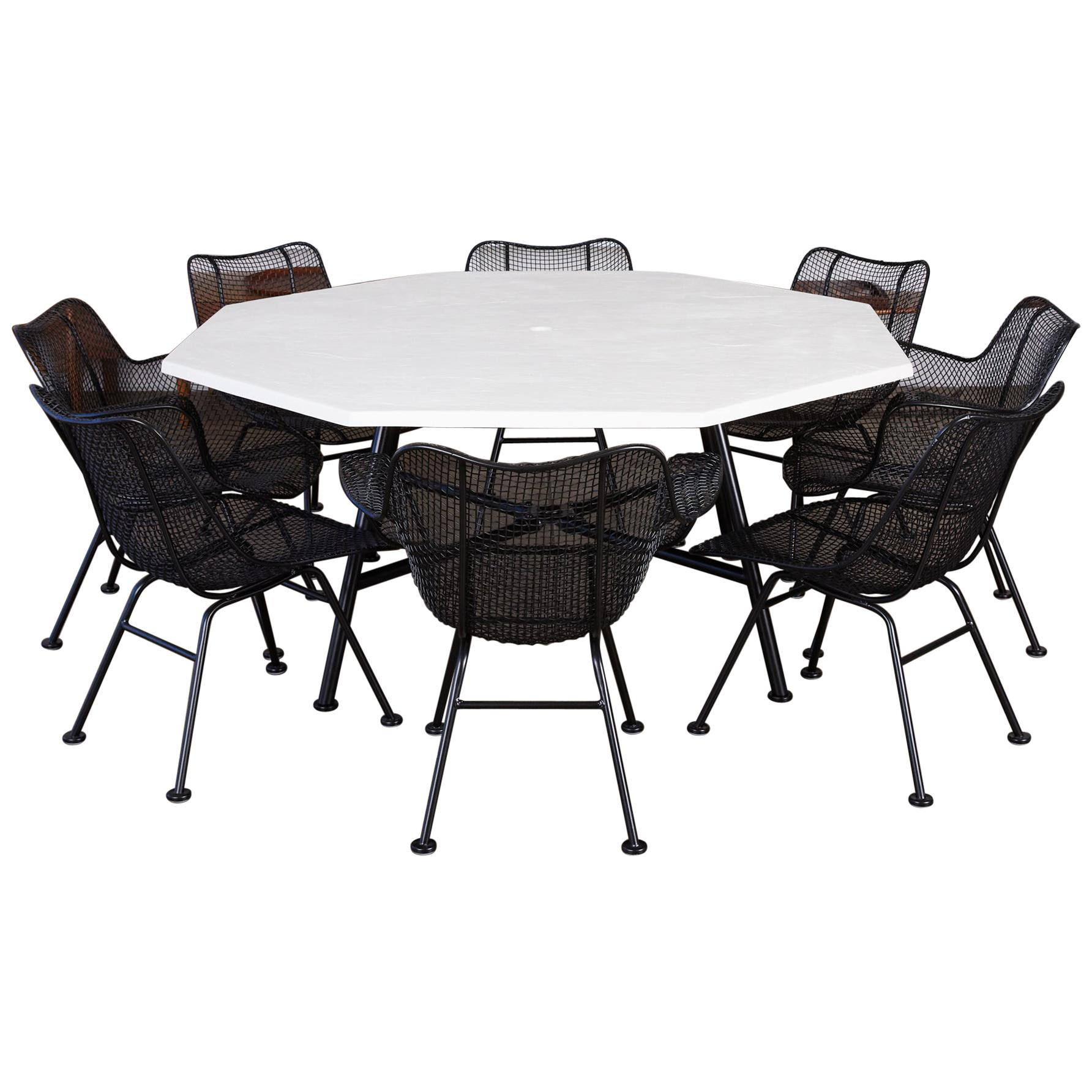 """Patio Dining Set with Eight """"Sculptura"""" Chairs by Russell Woodard"""