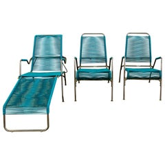 Patio Furniture by Surf Line, 2 Lounge Chairs, 1 Chaise in Stainless and Aqua
