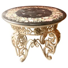 Patio Iron Table with Inlaid Marble Top