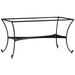Patio or Garden Dining Room Table in Wrought Iron with Glass Top