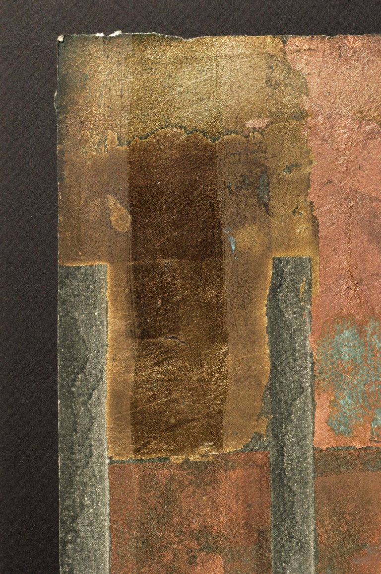 Copper and Gold Leaf Variations - Abstract Expressionist Print by Patricia A Pearce