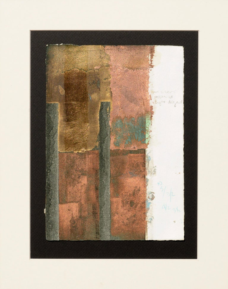 Patricia A Pearce Abstract Print - Copper and Gold Leaf Variations