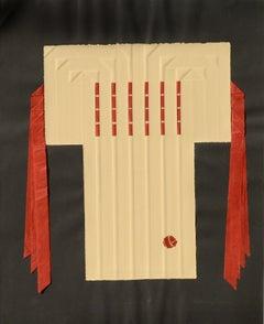 """""""Kimono 4"""" (Tan Kimono with Red Paper Strips)"""
