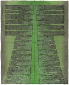 Green Kimono Collagraph, Master Plate 14 - Modern Minimal Geometric Mixed Media
