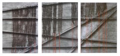Black Mesh and Red Ribbon Collotype Abstract Triptych