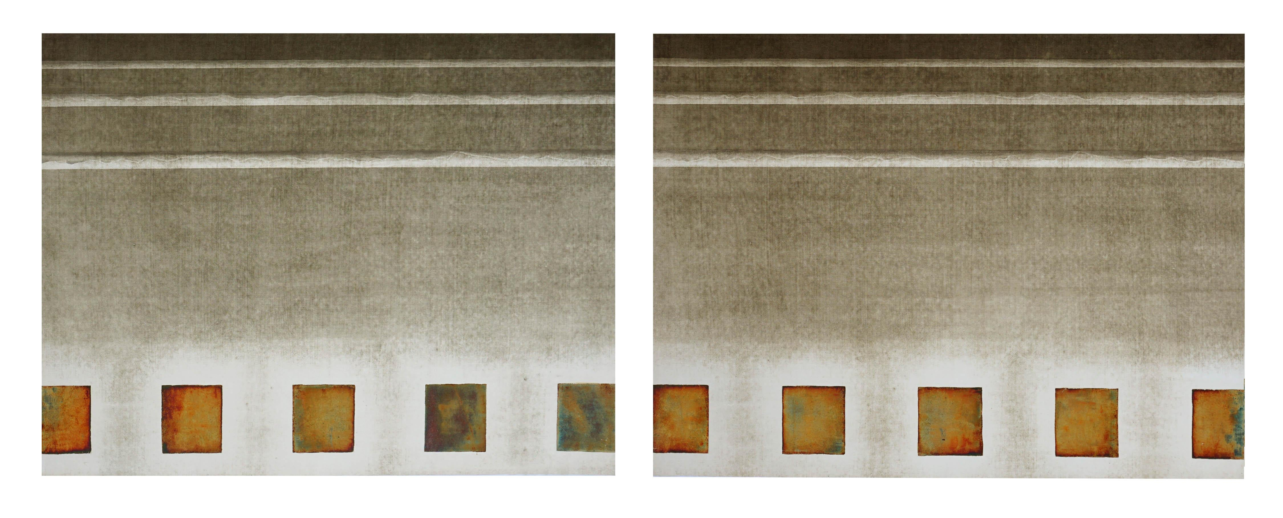 Bronze Block and Rods Collotype Diptych