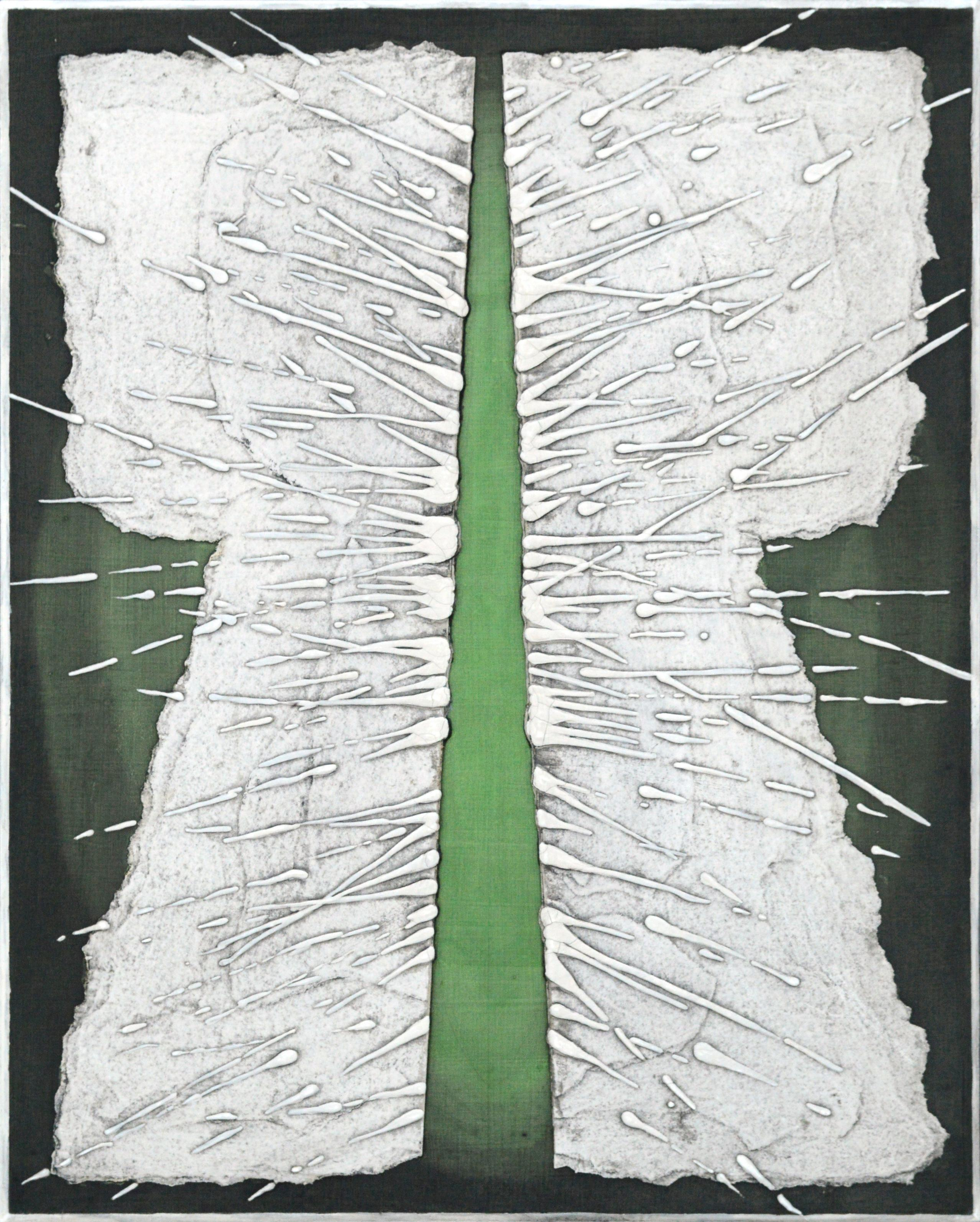 Modern Geometric Green & White Kimono, Abstract Expressionist Collagraph Plate#3