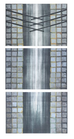 Large Scale Arts & Craft Style Vertical Triptych Patricia Pearce