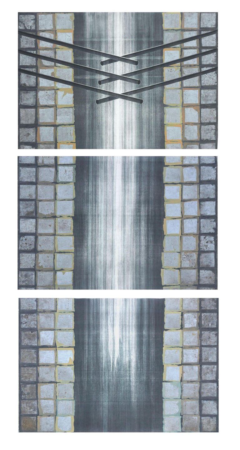 Patricia A Pearce Abstract Print - Large Scale Arts & Craft Style Vertical Triptych Patricia Pearce