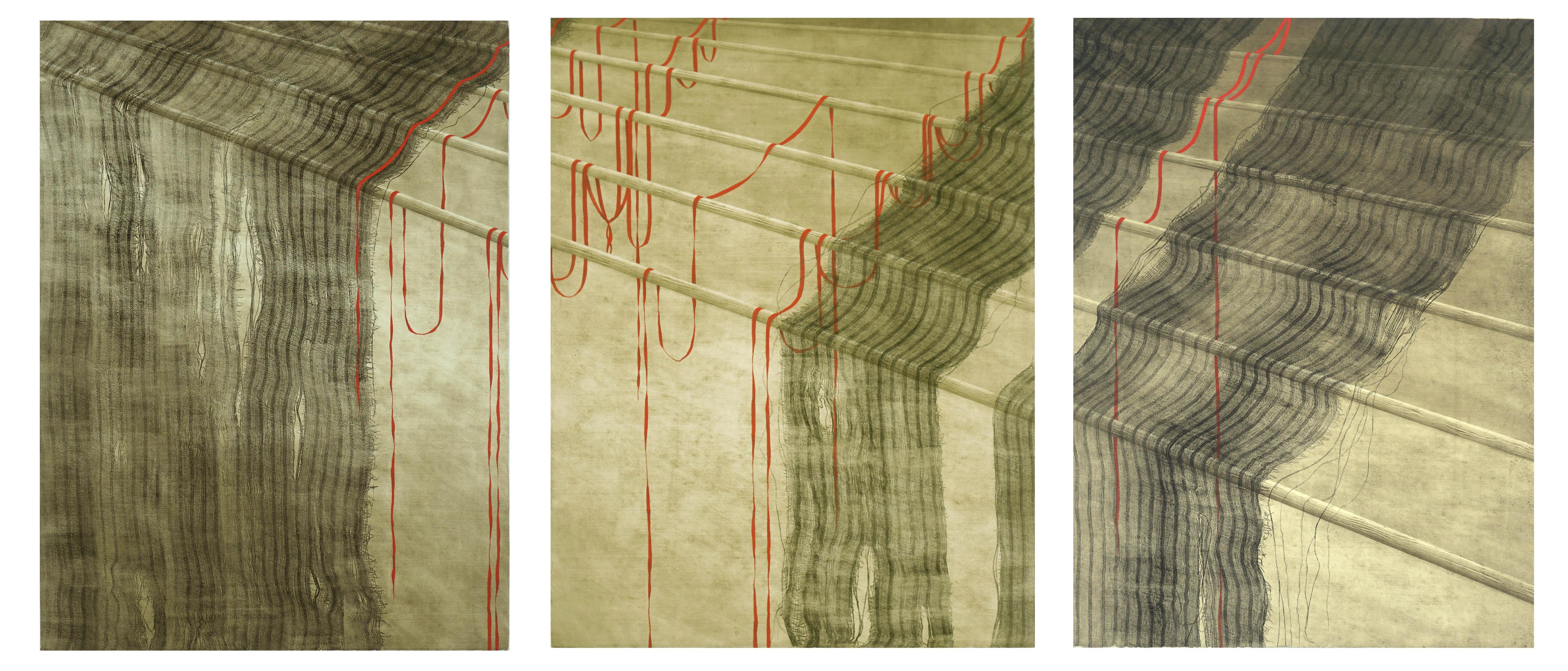 Red Ribbons and Rods Collograph Triptych II/IV