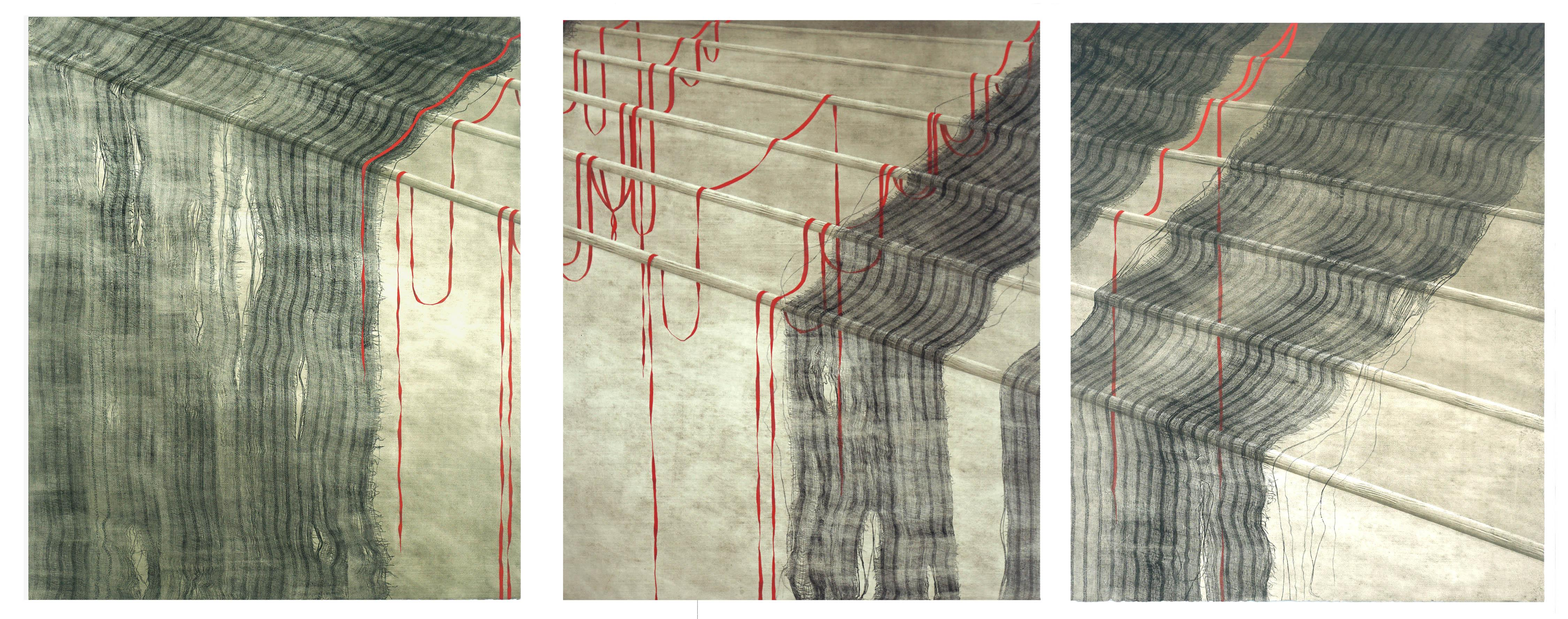 Red Ribbons and Rods Collotype Triptych