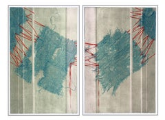 Teal Mesh and Red Ribbon Collotype Abstract Diptych