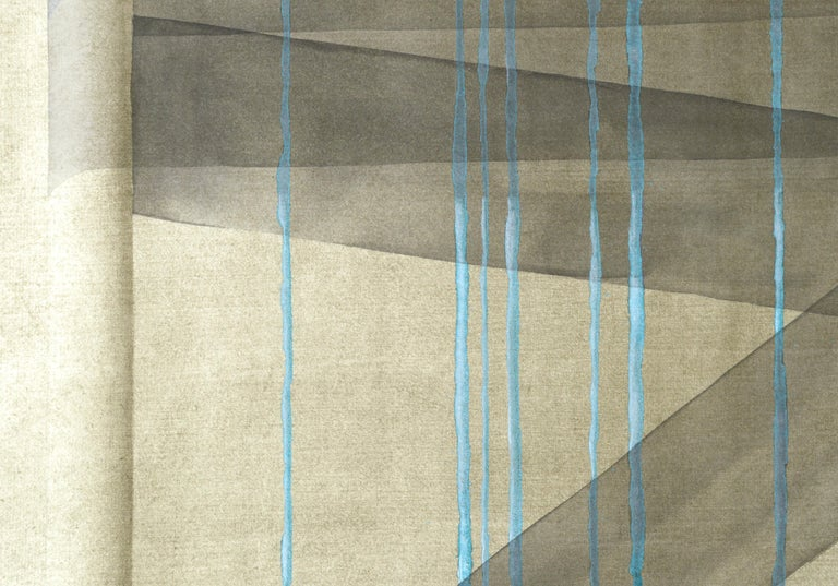 Black Ribbon with Teal Strands - Hand Augmented Collotype - Blue Abstract Print by Patricia A Pearce
