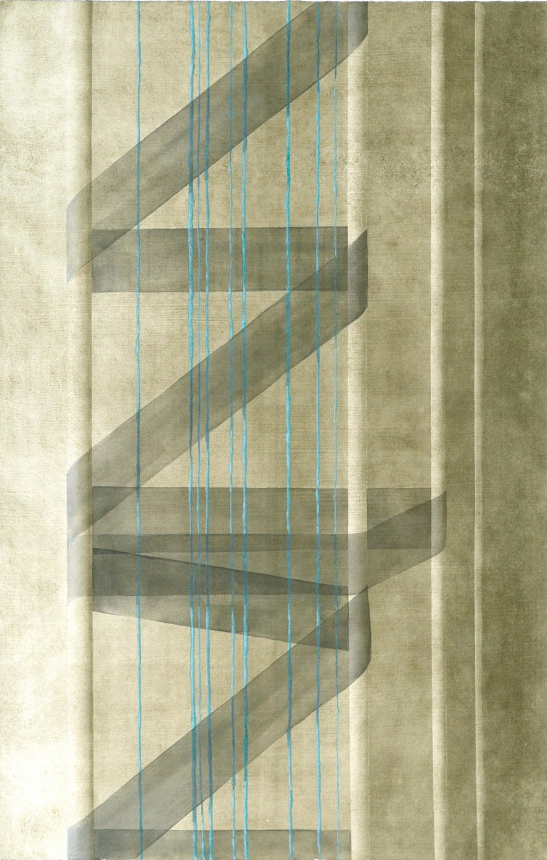 Patricia A Pearce Abstract Print - Black Ribbon with Teal Strands - Hand Augmented Collotype