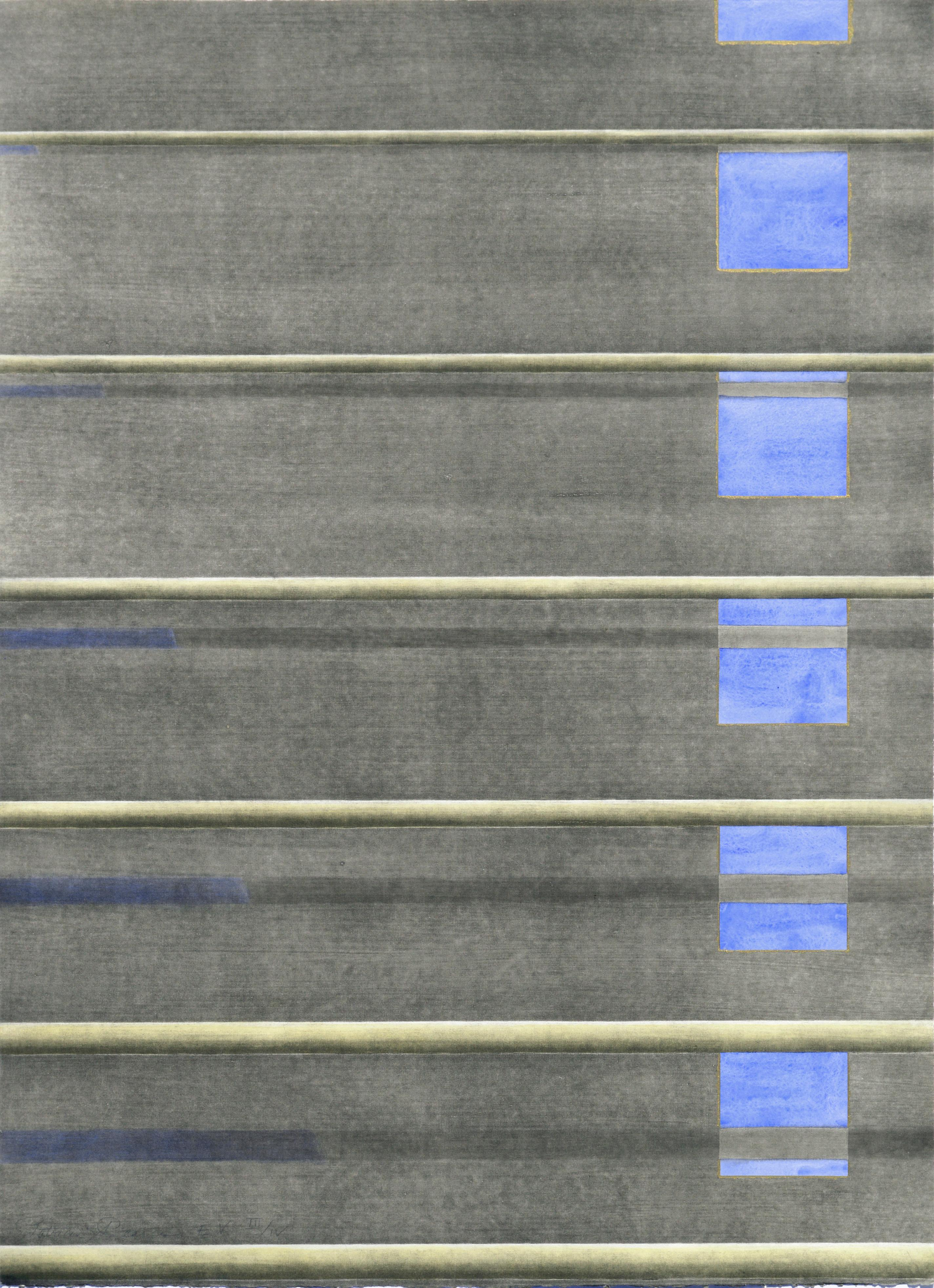 """""""Blue Approach #2"""" - Hand-Augmented Collotype"""