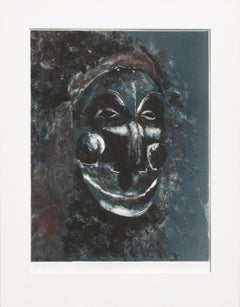 Blue Mask Hand-Altered Monoprint