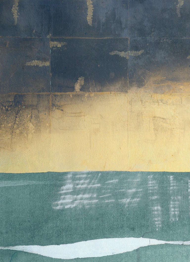 Gold Sky with Silver Ribbon - Hand-Augmented Collotype - Abstract Geometric Painting by Patricia A Pearce