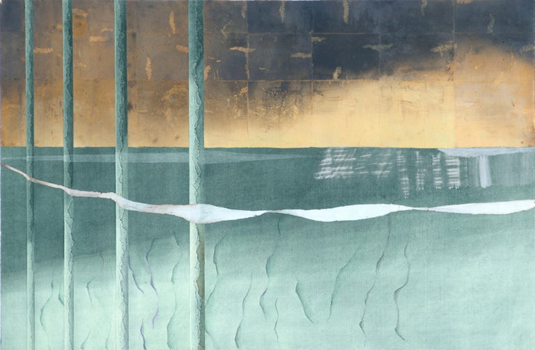 Patricia A Pearce Abstract Painting - Gold Sky with Silver Ribbon - Hand-Augmented Collotype