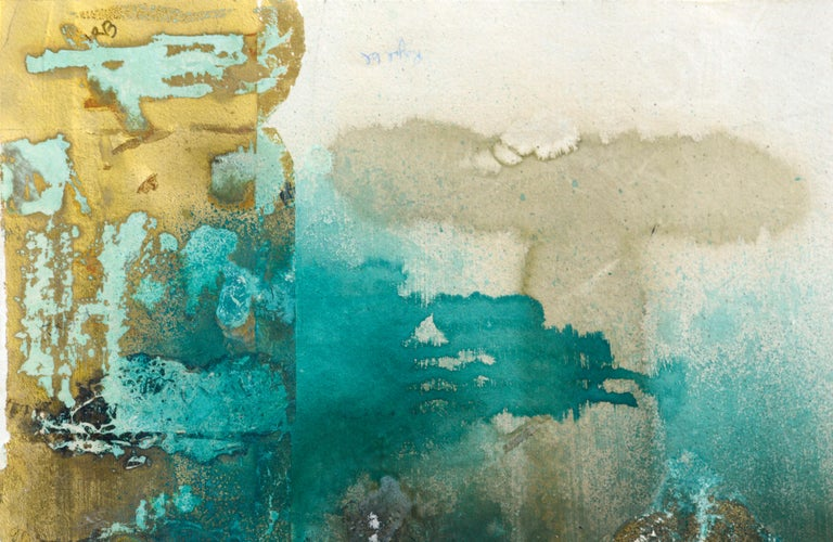 Mixed Media Abstract Geometric: 2-Sided, Hand-Augmented Collotype - Gold Abstract Print by Patricia A Pearce