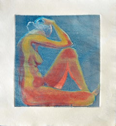 Seated Nude Figure in Red & Blue