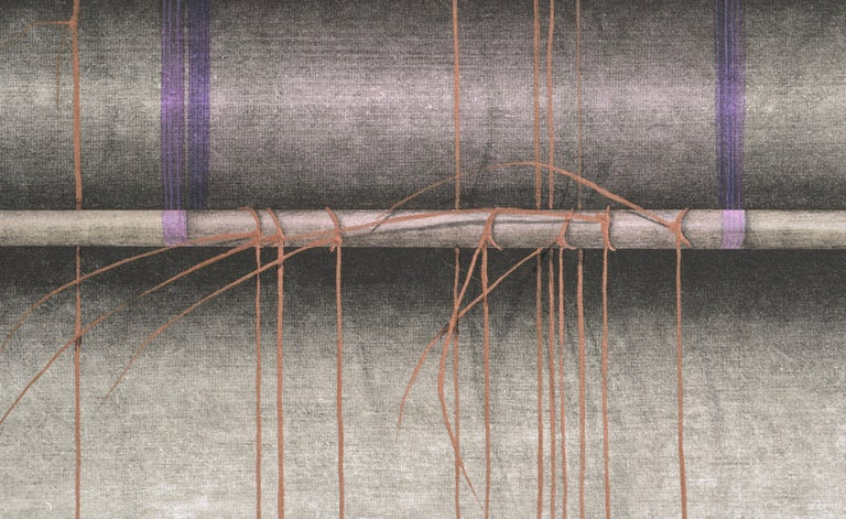 Purple Ribbons and Gold Threads - Hand-Augmented Collotype - Gray Abstract Painting by Patricia A Pearce
