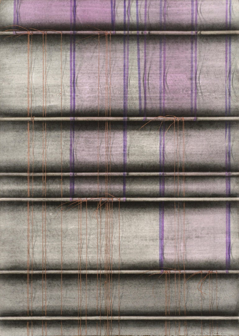 Patricia A Pearce Abstract Painting - Purple Ribbons and Gold Threads - Hand-Augmented Collotype