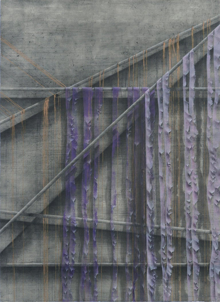 """Patricia A Pearce Abstract Painting - """"Purple Shreds for a Robe"""" - Hand-Augmented Collotype"""