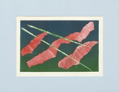 Red and Green Abstract Lithograph