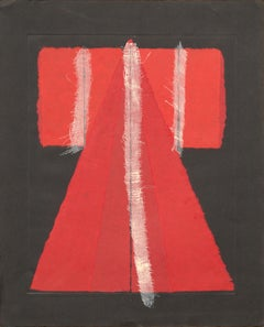 Red Paper Kimono with Cheesecloth Imprint