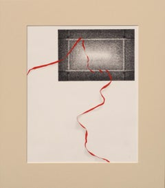 Red Ribbon Through the Window - Exceptional Hand Augmented Lithograph