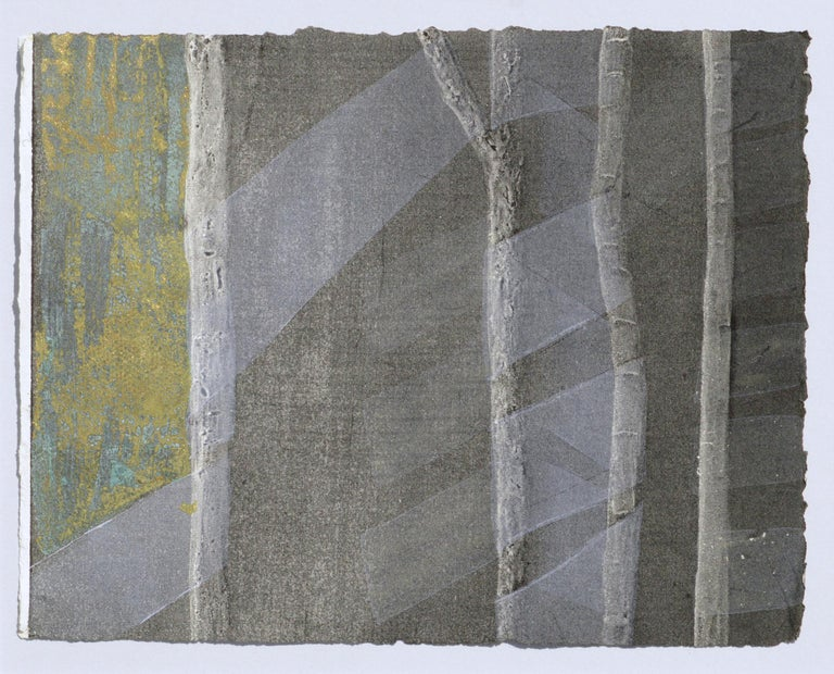 Ribbons and Bamboo - Silkscreen Augmented with Copper and Gold Leaf - Print by Patricia A Pearce