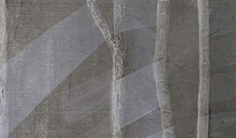 Ribbons and Bamboo - Silkscreen Augmented with Copper and Gold Leaf - Black Landscape Print by Patricia A Pearce