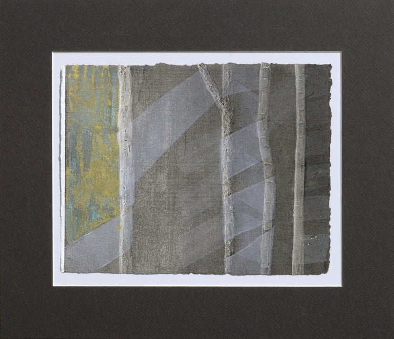 Patricia A Pearce Landscape Print - Ribbons and Bamboo - Silkscreen Augmented with Copper and Gold Leaf