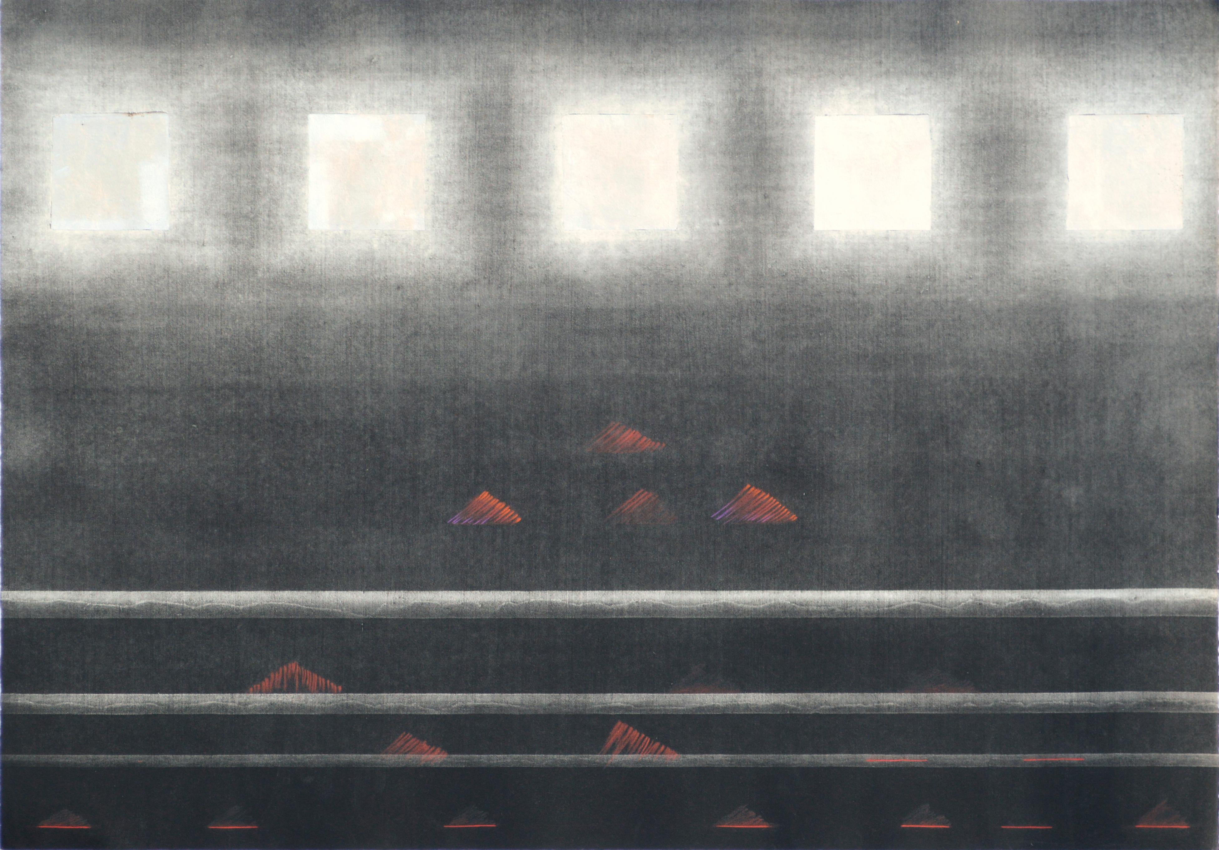 Silver Squares Over Red Pyramids - Hand-Augmented Collotype