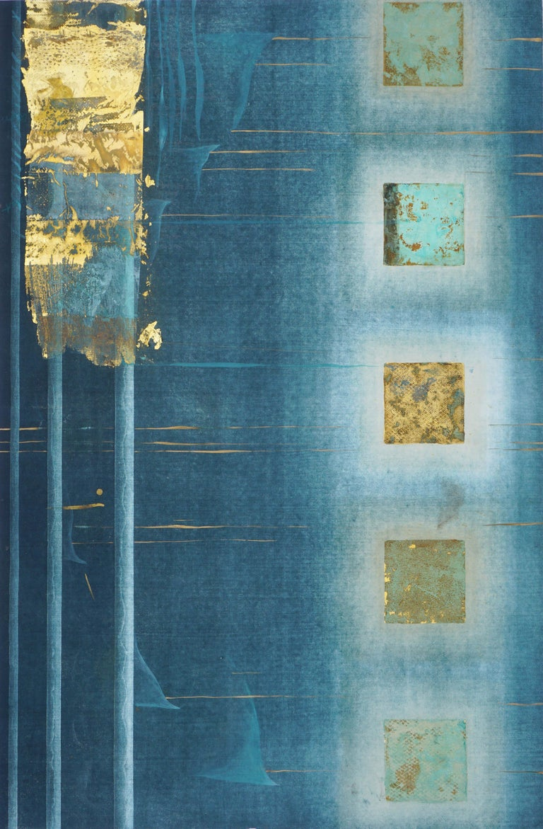 Teal and Gold Squares Collagraph  - Print by Patricia A Pearce