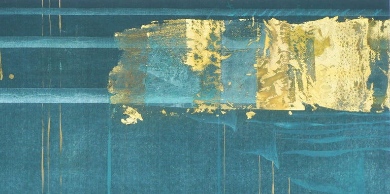 Teal and Gold Squares Collagraph  - Abstract Expressionist Print by Patricia A Pearce