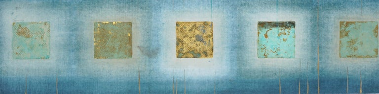 Teal and Gold Squares Collagraph  - Blue Abstract Print by Patricia A Pearce
