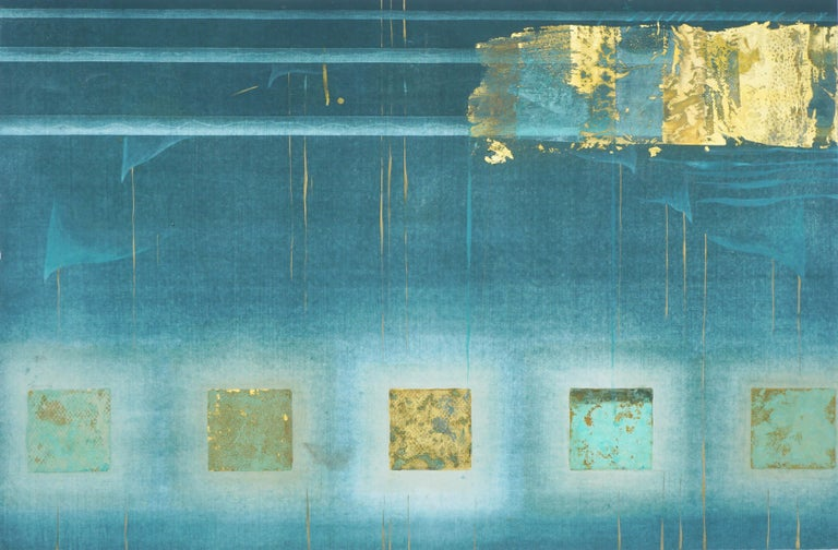 Patricia A Pearce Abstract Print - Teal and Gold Squares Collagraph