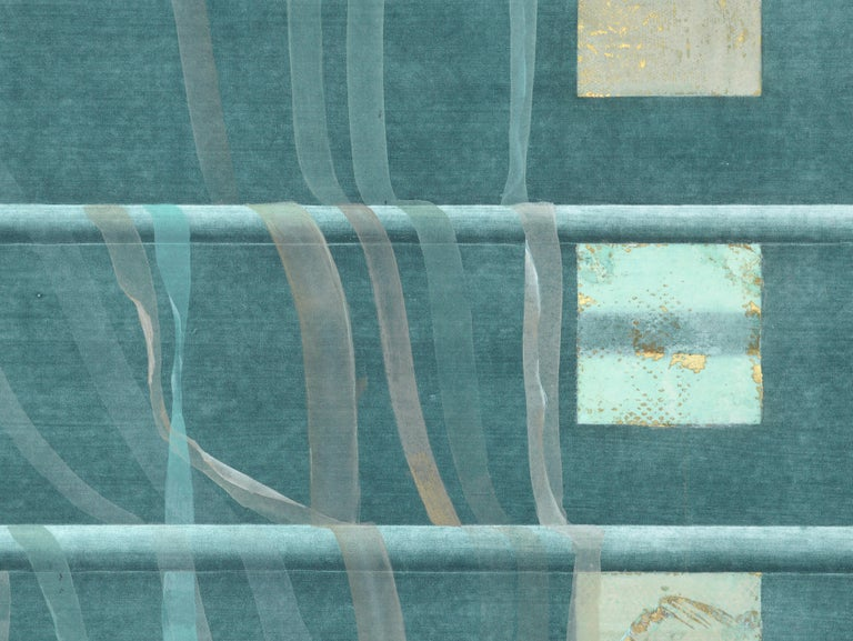 Teal Ribbons and Gold Squares - Hand Augmented Lithograph - Print by Patricia A Pearce