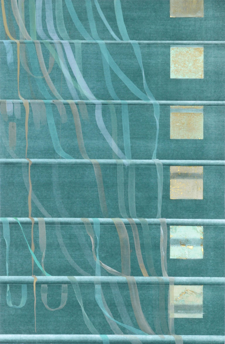 Patricia A Pearce Abstract Print - Teal Ribbons and Gold Squares - Hand Augmented Lithograph