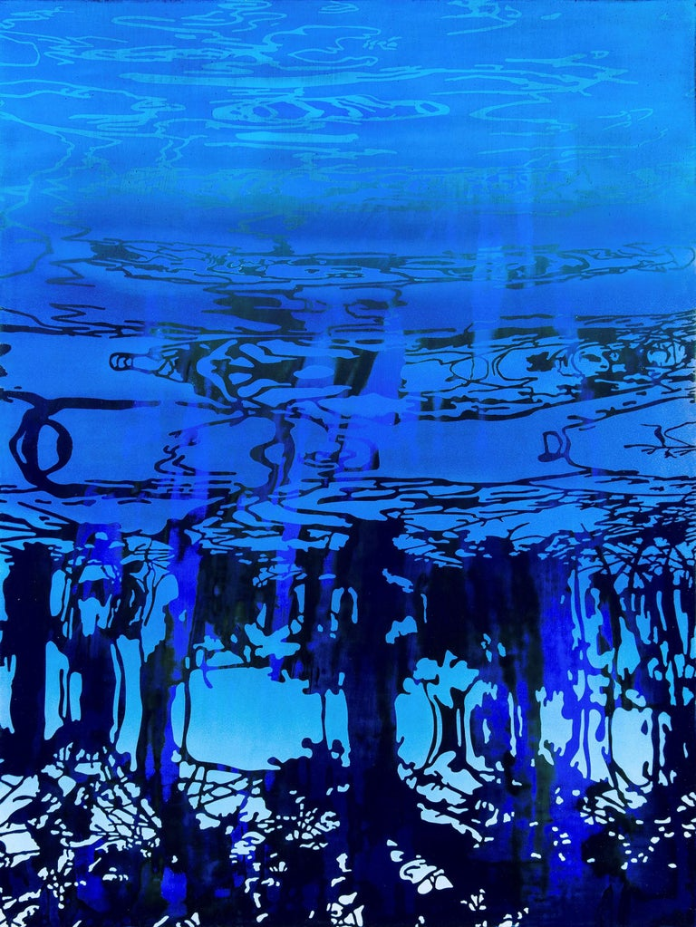 Patricia Claro Abstract Painting - Aguagrams VIII- Deep Blue Water 31.5 X 23.5