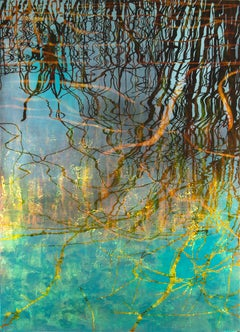 Perididas III- Water Reflections Turquoise and Gold tones 70 X 51