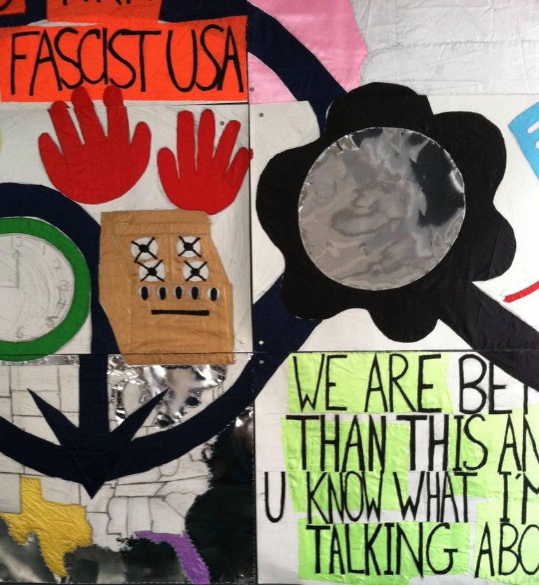 Patricia Dahlman, No_Trump, 2017, pencil, fabric, paper, thread, collage, banner - Feminist Mixed Media Art by Patricia Dahlman