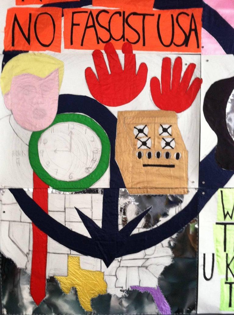 Patricia Dahlman, No_Trump, 2017, pencil, fabric, paper, thread, collage, banner For Sale 2