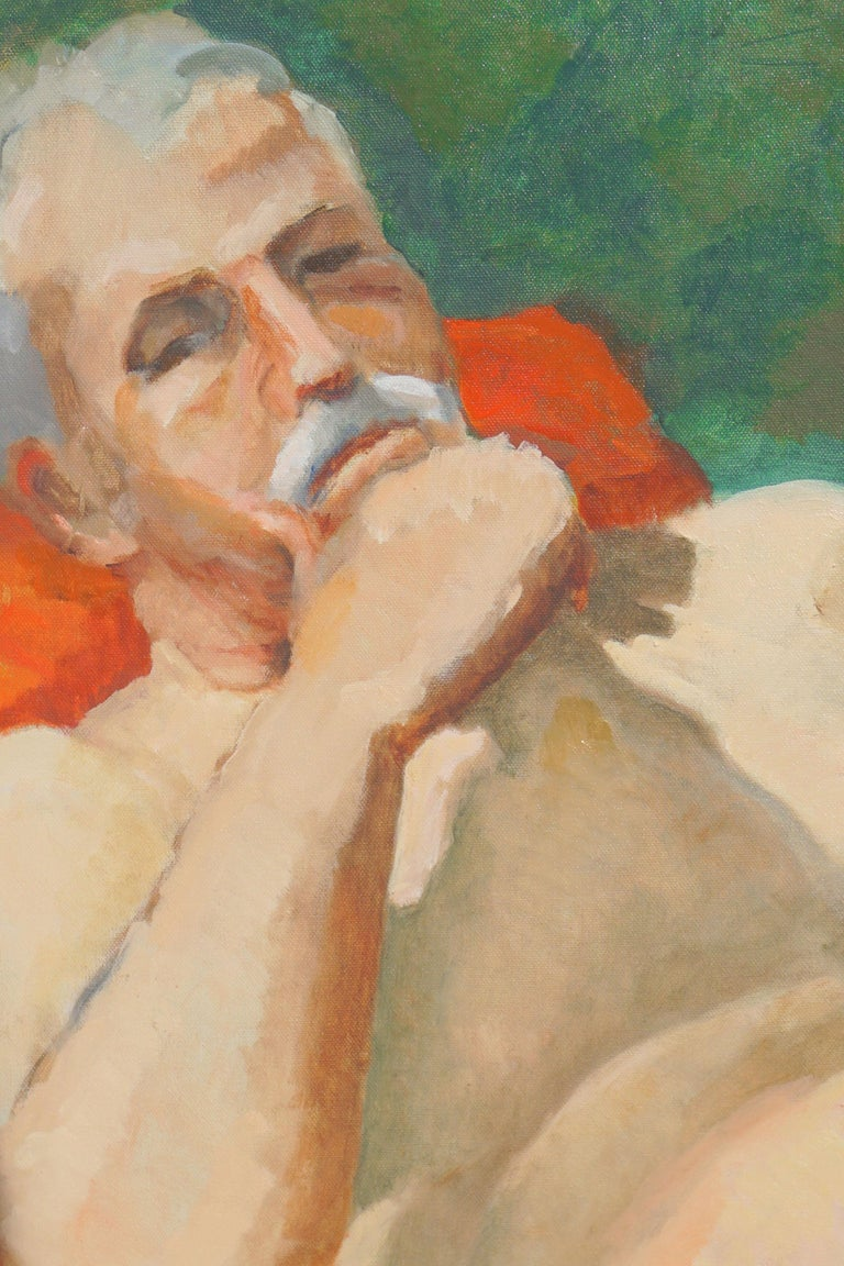 Reclining Male Nude Study - Painting by Patricia Emrich Gillfillan