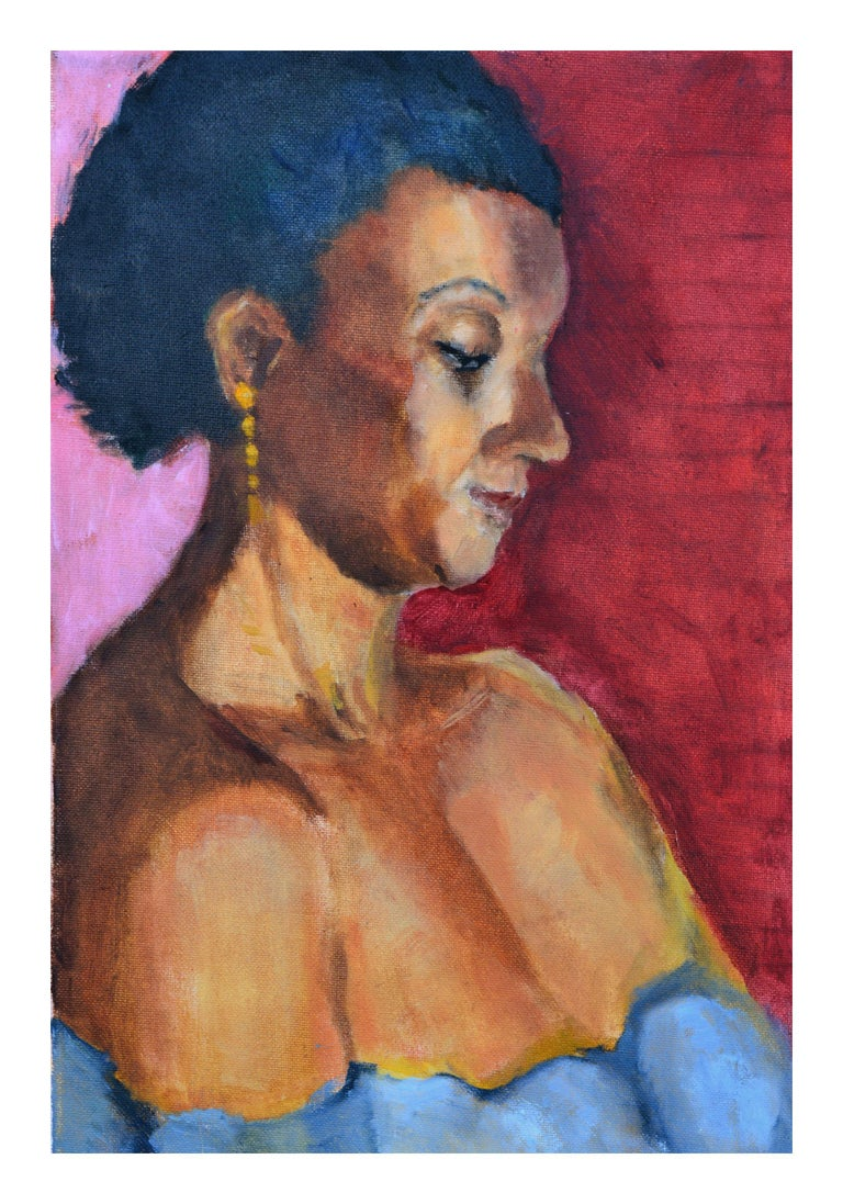 Woman with Gold Earring Portrait  - Painting by Patricia Emrich Gillfillan