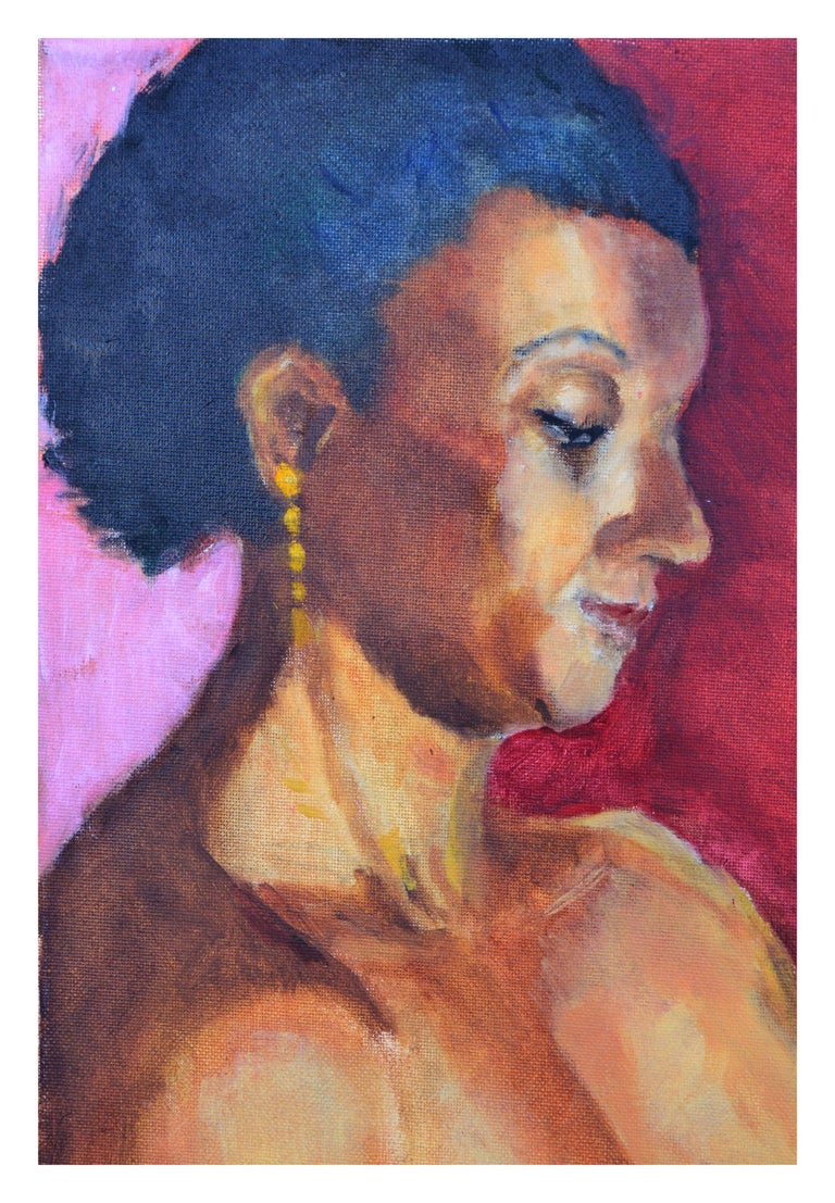 Woman with Gold Earring Portrait  - American Impressionist Painting by Patricia Emrich Gillfillan