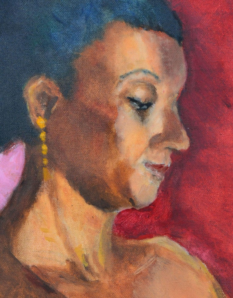 Woman with Gold Earring Portrait  - Brown Portrait Painting by Patricia Emrich Gillfillan
