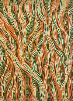 Autumn toned wavy lined contemporary optical art abstract painting